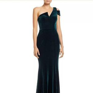 AQUA Velvet One-Shoulder Gown